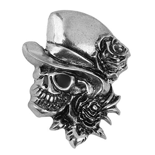 Totenkopf Brosche - SODIAL(R)Rosen Schaedel Brosche Deko Fuer Halloween Party Bevorzugung Geschenk Antikes Silber