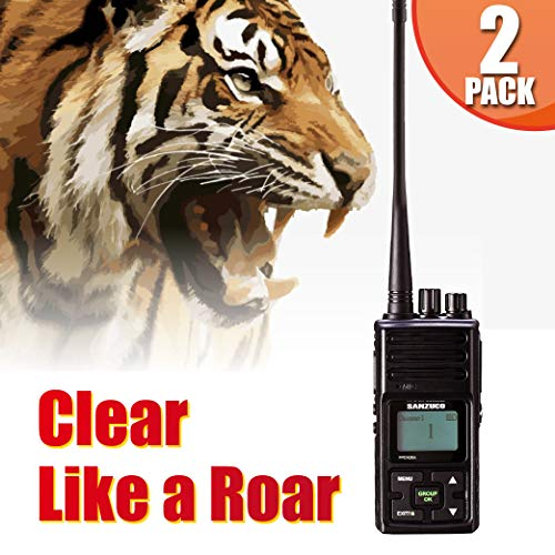 Long Range Rechargeable Two-Way Radio with Earpiece & Mic, Sanzuco Handheld Walkie Talkie with Group Talk Function, Frequency Reprogrammable, 3000mAh Li-Battery, Dock Charger Included (Black, 2 Pack)