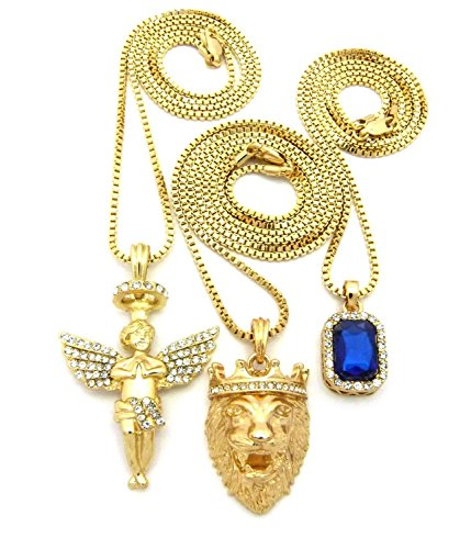 Shiny Jewelers USA Mens Hip HOP ICED Out Angel Lion RED Ruby Onyx Blue Green Pendant 3 Chain Necklace (Blue Stone)