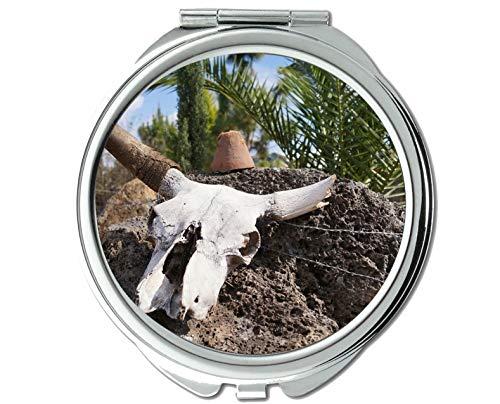 Yanteng Spiegel, Reisespiegel, Schädel Wüste Alten Westkuhschädel, Taschenspiegel, 1 X 94X Vergrößerung