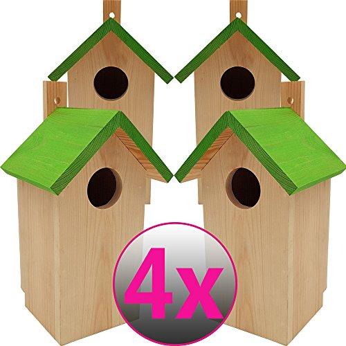 DILUMA Nistkasten Green 4er Pack 23 x 10 x 10 cm aus FSC Holz Nisthaus perfekt für Meisen Kohlmeisen Kleiber Rotschwänzchen und weitere Vogelarten Vogelnistkasten