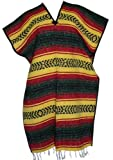 Del Mex Classic Mexican Blanket Poncho,Yellow
