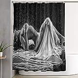 VINISATH Duschvorhang,Nackte Frau im Regen mit weißem & schwarzem Hintergr&,wasserdichter Badvorhang mit 12 Haken Duschvorhangringen 180x180cm