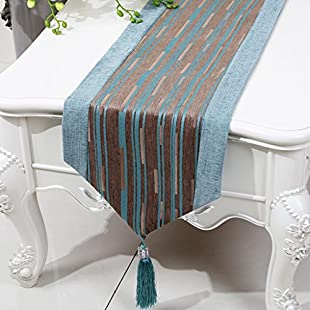 Zfggd Table Runner Stripe, Coffee Table TV Cabinet Classical Living Room Kitchen (Color  Light coffee, Size  33 * 200cm)