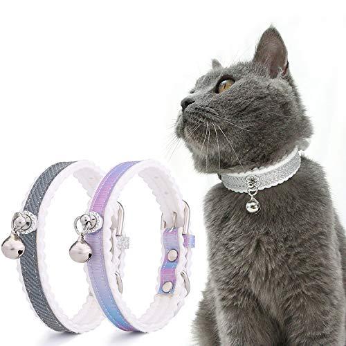 SUNNEKO(サンネコ)猫首輪 鈴付き 猫の首輪 安全 猫 首輪 ネコ セーフティーバックル サイズ調節可能 猫用首輪 すず かわいい おしゃれ 軽量 柔らかい ペット首 プリンセス風 2個セット