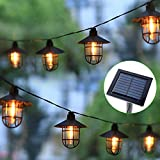 MAGGIFT 8 Pcs Solar Powered Outdoor String Lights, 14.2FT 24 Lumens Hanging Solar Vintage Lanterns with Edison Bulbs, Shatterproof Waterproof Lantern Strings for Christmas Patio Deck Backyard Garden