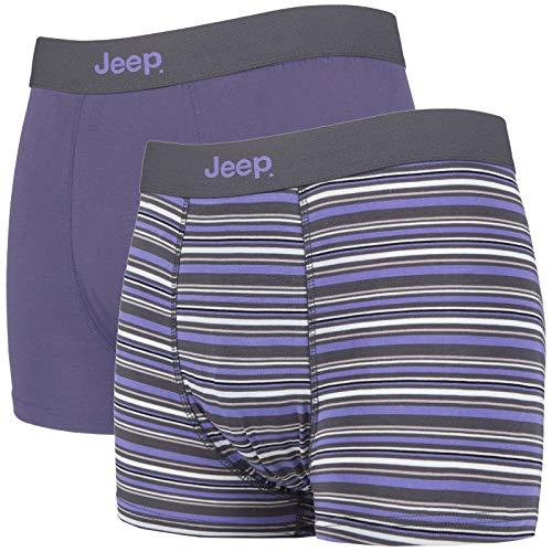 Jeep - 2er Pack Bambus Boxershorts Trunks mit Einfarbig Muster und Streifen (M, Char/Lila)