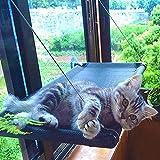 Hamaca Ventana de Gato, Cama Gato Colgante para Gato, Hamaca Ventosa para Gatos con 4 Ventosas de Perilla, Cama de Gato Ventosa para Tomar el Sol, Soportar hasta 45LBS, 66 x 38 cm