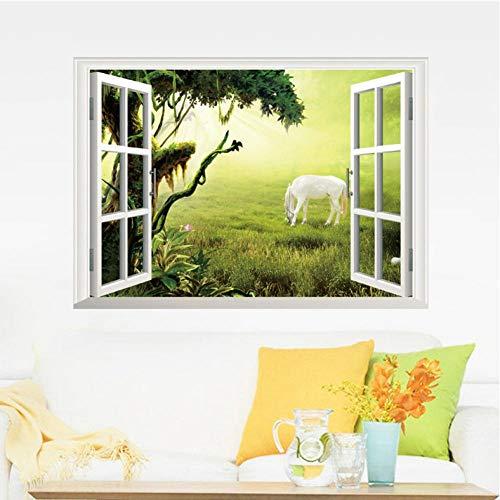 Xxscz wit paard eten gras op het grasland muur sticker 3D venster bekijken muur Applique poster woonkamer slaapkamer muur Decor