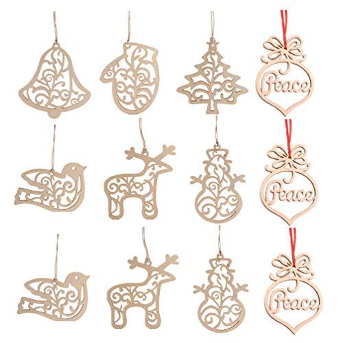 Vosarea 30 pezzi Decorazioni Albero di Natale Etichette Tag Legno Ciondolo Pendente Natale Decorazioni Natale da Appendere Addobbi Natalizie