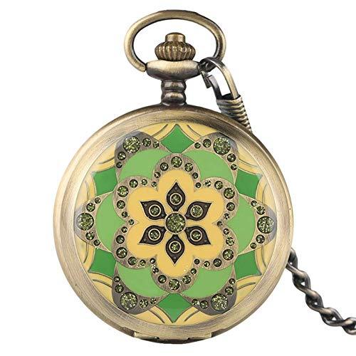 J-Love Reloj de Bolsillo Retro, Colgante de Estilo Verde de Cristal Vintage Reloj de Bolsillo mecánico de Cuerda Fina Relojes de enfermería Cadena de Llavero Regalos para Mujeres Señoras