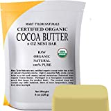 Organic Cocoa Butter 8 oz — USDA Certified by Mary Tylor Naturals — Raw Unrefined, Non-Deodorized, Rich In Antioxidants — for DIY Recipes, Lip Balms, Lotions, Creams, Stretch Marks