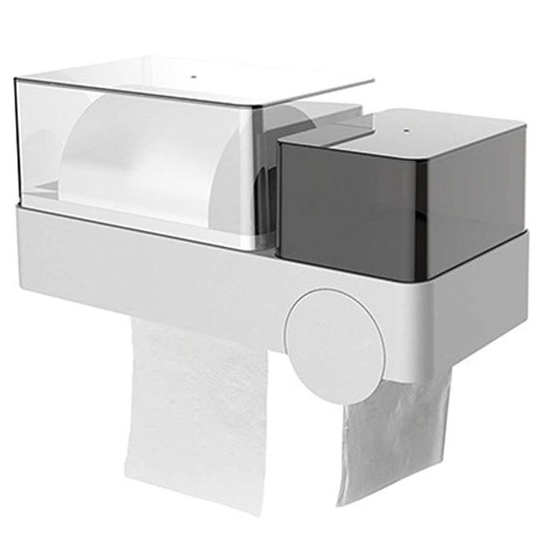 下向きテレビサバントティッシュボックス 防水トイレットペーパーホルダーカバーウォールは、プラスチックロールティッシュボックス吸盤マウント (Color : 白, Size : 1)