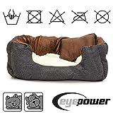 Hundebett Tierbett Braun Weiß Lammfellimitat ca. 52x40x16cm mit Innenkissen + Schmusekissen + Pipi-Schutz-Unterlage - 3