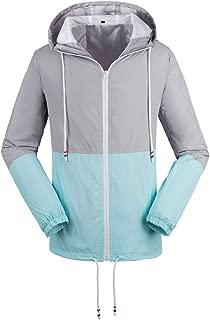 Women's Light Rain Waterproof Jacket Lightweight Packable Windbreaker Hooded Lined Raincoat Blue Pink Yellow S-XXL