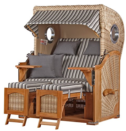 Beach Chair CHAIR TEAK Fully Reclining Beach Chair Garden Lounger Recliner Relaxer Lounger Sun Lounge Patio PE Wicker Shell Teak Porthole Design 545with 4Padded Cushion and Removable–Dunes Beach Chairs Teak and Rattan Effect Outdoor, Conservatory or Patio