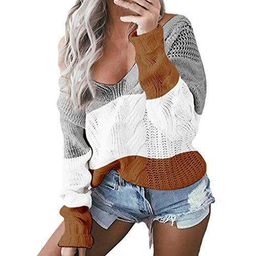 Goosuny Damen Pullover Strickpullover,Damen Sexy V-Ausschnitt Farbblock Sweater,Lange Ärmel Sweatshirt,Casual Loose Pulli,Damen Lässiges Jumper Oberteile,Herbst Winter Bluse Tops