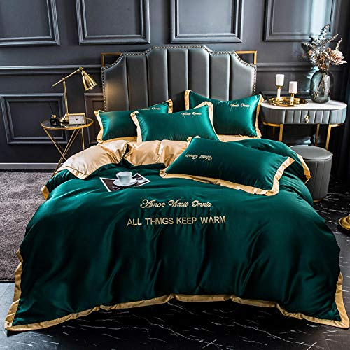 funda de edredón para cama individual,Lavar las hojas de seda de Tweet se colocaron en una cama de cuatro piezas de cama de color sólido simple-Qi_1,8 m de cama (4 piezas) (20 series de 200 * 230)