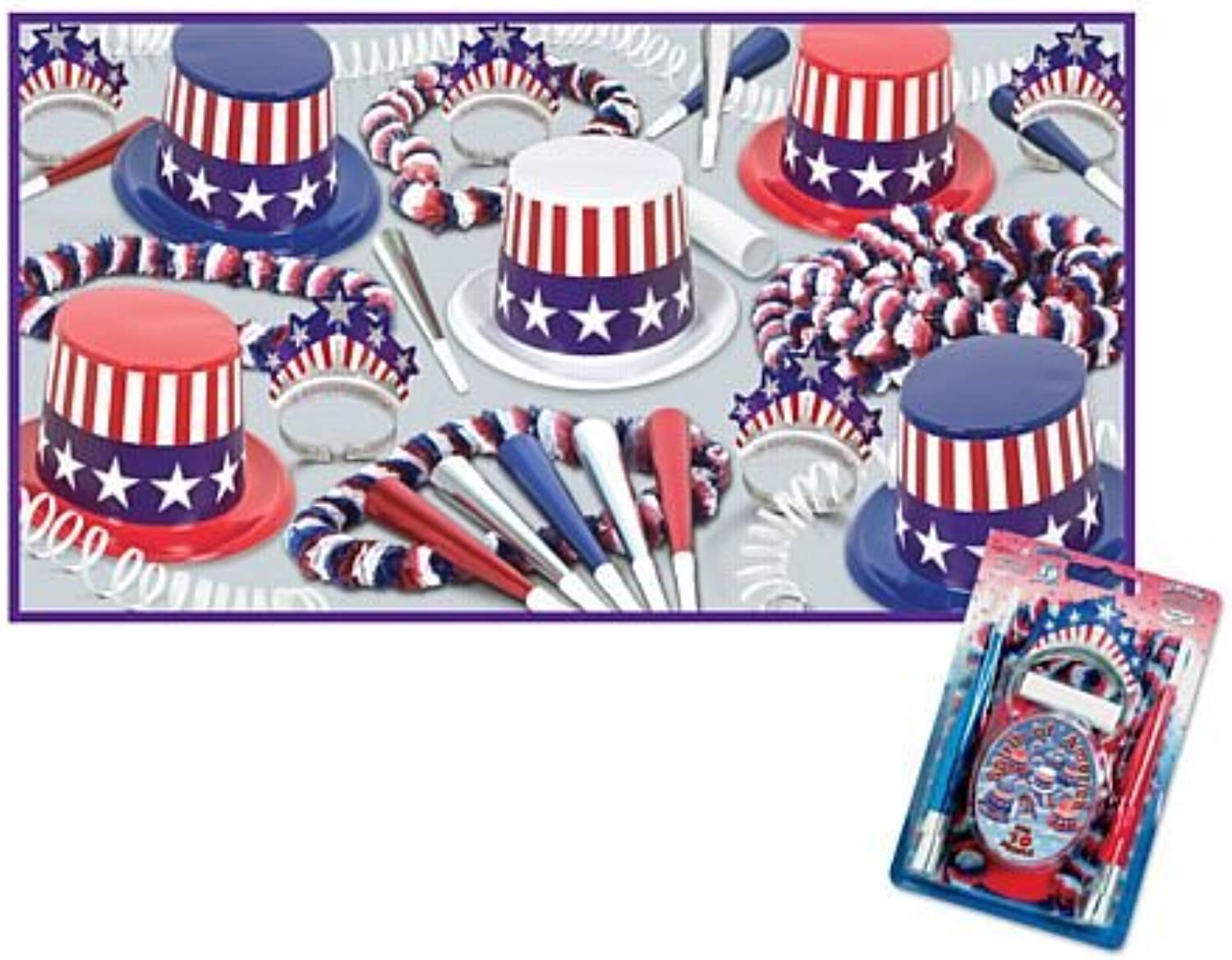 IdealWigsNet Spirit of America Hat and Novelty Party Pack For 10 People
