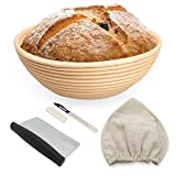 MB Bliss- Round banneton Basket for Home Baking 10 Inches | Bread Proofing Basket Made of Natural Rattan | Bread Basket with Bread Lame, Dough Scraper, Cloth Liner and Starter Recipe