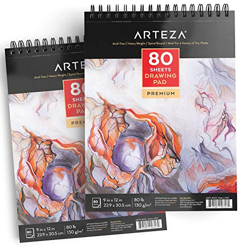 ARTEZA 9X12 Drawing Pad, Pack of 2, 160 Sheets (80lb/130g), Spiral Bound Artist Drawing Books, 80 Sheets Each, Durable Acid Free Sketch Paper, Ideal for Kids & Adults, Bright White