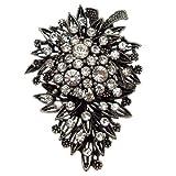 Acosta - cristal claro gtranslator - antiguo tono de plata broche Floral de la vendimia - en caja de regalo
