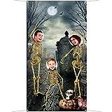 Blulu Fondo de Esqueleto de Halloween Fondo Fotográfico de Cráneo Foto Props de Fiesta de Cumpleaños Temática para Decoración de Fiesta Grande de Halloween