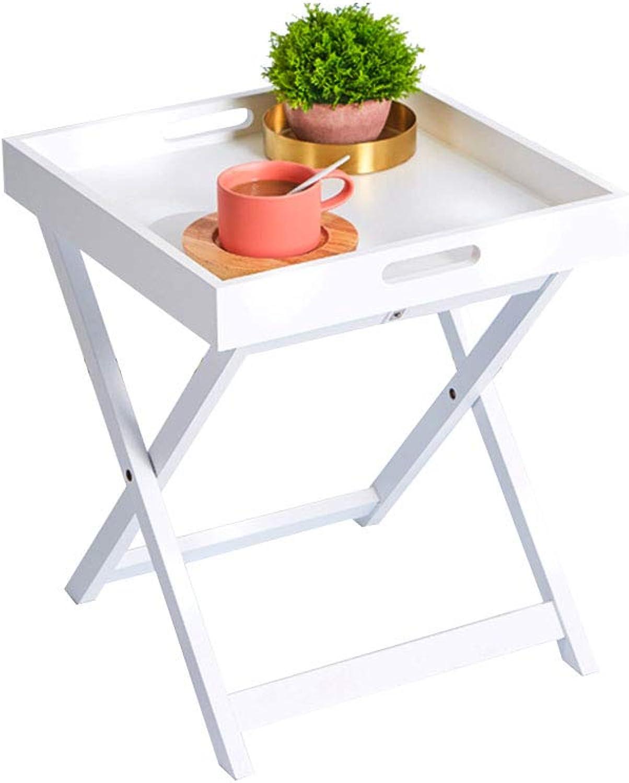 CSQ Sofa Side Table, Leisure Table Bedside Balcony Tea Table Multifunction Creative Living Room Coffee Shop Restaurant Table Tea Table (color   White)