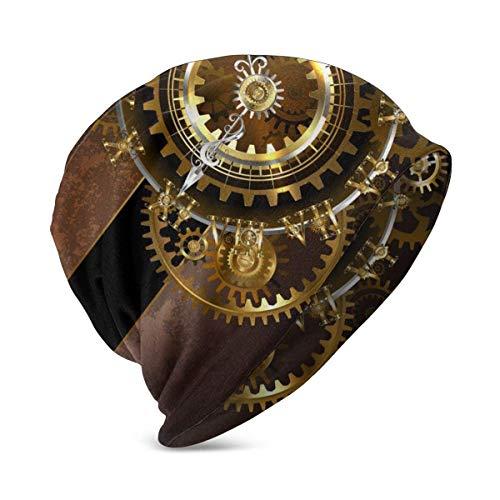 Relojes antiguos y fantásticos con engranajes de latón y oro sobre fondo marrón Steampunk.Gorro de algodón para bebé lindo gorro suave para bebé niño/niña