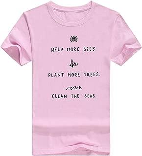 Beloved Women's Crew Neck Short Sleeve Casual Summer Letter Print Blouse T Shirt Top Grey XXX-Smalll