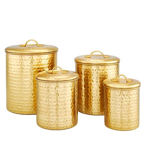 Old Dutch Gold 4 Piece Hammered Storage Canister Set, 4 Qt, 2 Qt, 1.5 Qt & 1 Qt