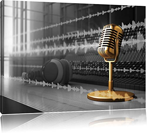 BSLIAO Mural gouden microfoon poster, muurdruk woonkamer foto, wanddecoratie kunst beeldfotografie, abstract-microfoon poster