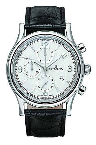 Grovana 1728,9532-Orologio da uomo al quarzo con Display con cronografo e cinturino in pelle nera 1728,9532