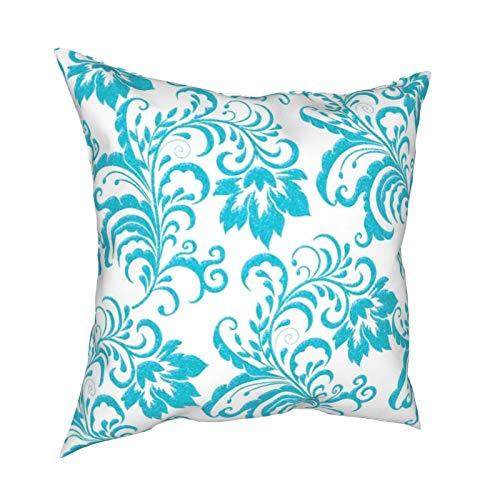 Funda de cojín con cremallera, diseño floral, color azul turquesa y blanco