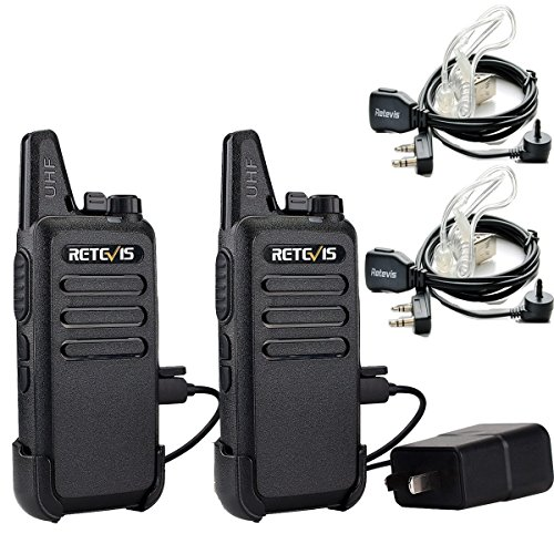 Retevis RT22 Walkie Talkies for Adults Long Range Rechargeable FRS UHF 16 Channel VOX 2-Way Radio with Earpieces Mini Hunting Camping Outdoor (2 Pack)