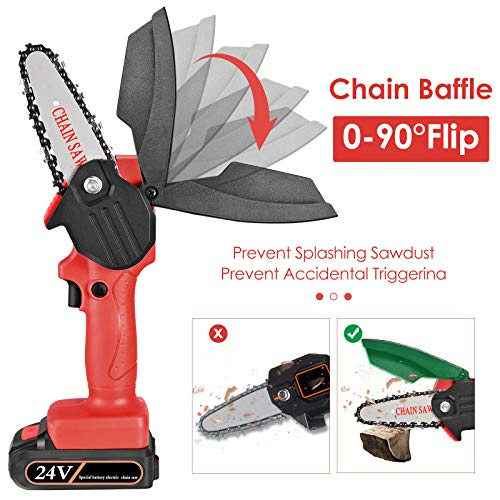 H HUKOER Mini Electric Chainsaw, Rechargeable Portable Handheld Electric Saw 4-Inch Cordless Electric Chainsaw for Tree Branch Wood Cutter,Garden Branch Wood Cutting and Pruning 24V Chainsaw (red)