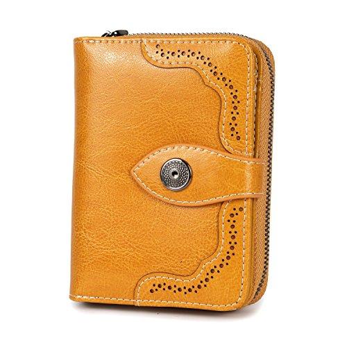 Vintage Echtes Leder Damen Geldbörse Klein Portemonnaie Frauen Geldbeutel mit Reißverschluss und Geschenkbox (Gelb-b)