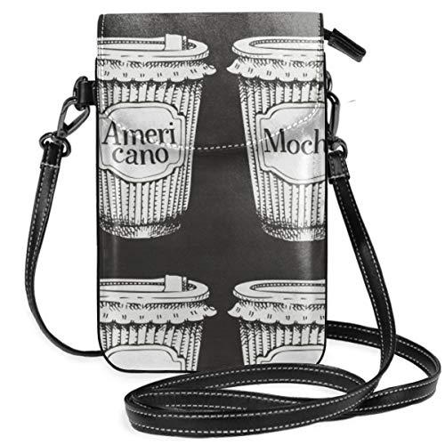 LEPO'S Handy-Umhängetasche Tasche Handtasche Nahtloses Muster mit Hand gezeichnetem Schalen-Kaffee gehen Crossbody Smartphone Geldbörse