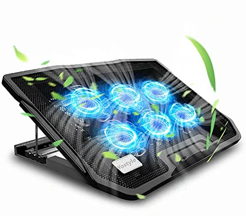 Yostyle Enfriador para Laptop de Juegos, Base de Refrigeración para Ordenador Portatil, 6 Ventiladores Súper Refrigerantes y Silenciosos con Luces Led, Dos Puertos USB, Conveniente para Portatil de 12-19 Pulgadas