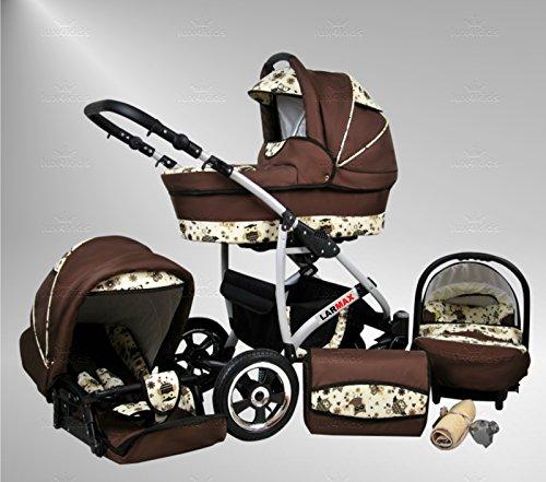 True Love Larmax Pram & Pushchair All Year Set (wintervoetenbank, parasol, autostoel & -adapter, regenjas, muskietennet, zwenkwielen) 95 Bruin & Uil