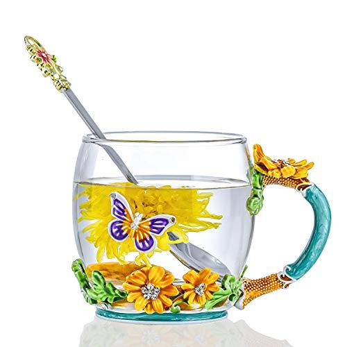 evecase Emails Butterfly Flower Glas Kaffeetassen Teetasse mit Stahllöffel Personalisierte Geschenke für Frauen Frau Mutter Lehrer Freunde Geburtstag Mütter Valentinstag