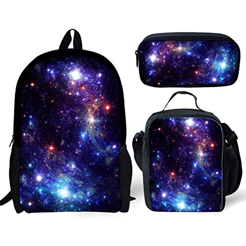 Nopersonality Purple Galaxy Star Backpack and Lunch Bag Set Girls Boys Back to School Bookbag with Pencil Case