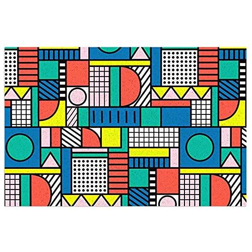 FFLSDR Dörrmatta 80-talet färgblock golvmattor entré PVC-matta tvättbar matta välkomstmatta 40 x 60 cm