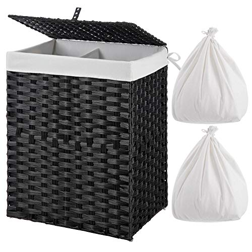 GREENSTELL Laundry Hamper with 2 Removable Liner Bags,90L Divided Clothes Hamper, Handwoven Synthetic Rattan Foldable Laundry Basket with Lid and...