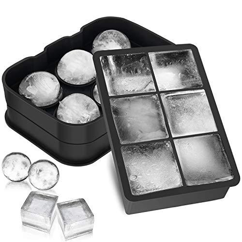 Morfone Eiswürfelform,2 Stück Groß Silikon Eiswürfelform mit Deckel Ice Cube, 1 Quadratische Eiswürfelform und 1 Eiskugelform für Cocktail, Whisky, Babynahrung, LFGB Zertifiziert und BPA-frei, 6-Fach