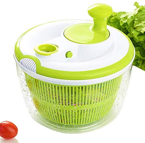 JmeGe Salatschleuder, Extra schnelles Trocknen, BPA-frei, Trocknen und Abtropfen von Salat und Gemüse, ca. 4 Liter Fassungsvermögen, Spülmaschinenfest, Grün