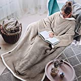 Tirrinia Sherpa Wearable Blanket Ultra Soft Comfy Warm Plush Full Body Throw with Sleeves, Reading Wrap TV Blankets Robe Cover for Adult Grandma Women and Men, Camel