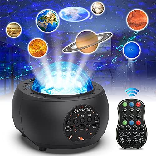 Trswyop Proyector Estrellas, LED de Luz Nocturna con Múltiples Modos de Luz, Altavoz Bluetooth, Temporizador y Control Remoto, Luz Nebula Ocean 10 Planetas para Niños, Adultos, Dormitorio, Fiesta