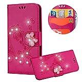 Heiß Rosa Brieftasche für iPhone XS,Strass Handyhülle für iPhone X,Moiky Luxus Liebe Herze Muster 3D Schmetterling Dekor Magnetisch Kunstleder Stoßdämpfende Handytasche mit TPU -