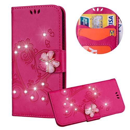 Heiß Rosa Brieftasche für iPhone 8 Plus,Strass Handyhülle für iPhone 7 Plus,Moiky Luxus Liebe Herze Muster 3D Schmetterling Dekor Magnetisch Kunstleder Stoßdämpfende Handytasche mit TPU